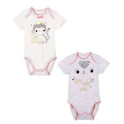 Lot de 2 bodies bébé fille manches courtes Chatbada PETIT BEGUIN a2a41d0b546