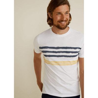 500a11529 T-shirt coton à rayures T-shirt coton à rayures MANGO MAN