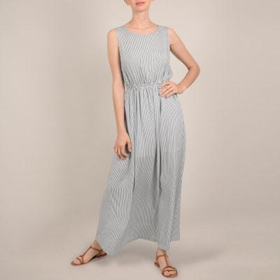 Lange gestreepte jurk, zonder mouwen, elastische taille Lange gestreepte jurk, zonder mouwen, elastische taille MOLLY BRACKEN
