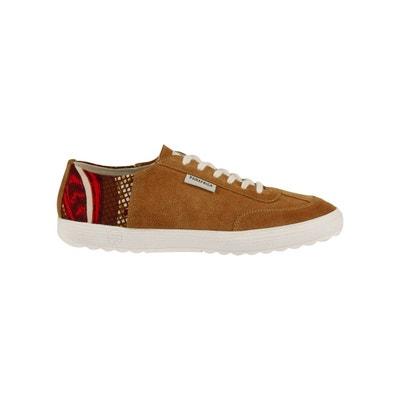 separation shoes 626fa 9c1d6 Basket camel en cuir velours à imprimé wax PANAFRICA