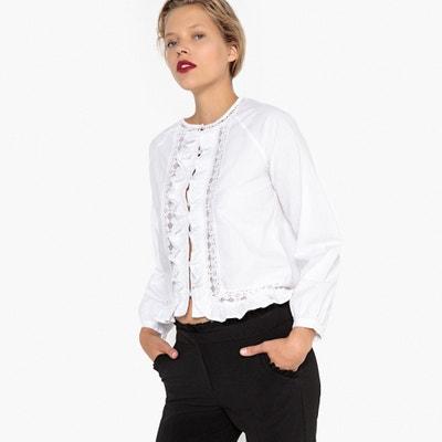 Camisa com incrustação de renda e folhos Camisa com incrustação de renda e  folhos LA REDOUTE e43c9f6d51f