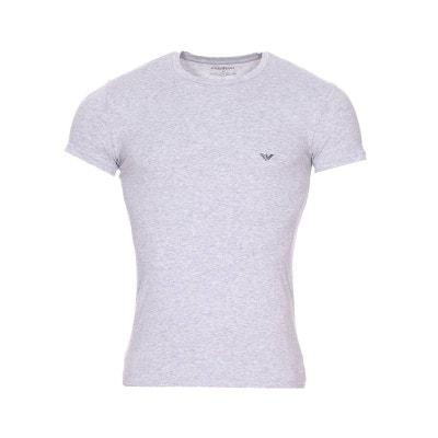 0b5187e6603 Tee-shirt col rond en coton stretch chiné floqué en foncé Tee-shirt col. EMPORIO  ARMANI