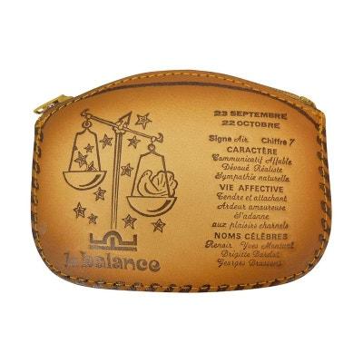 Porte monnaie cuir astrologique signe Balance CHAUSSMARO 2b3b17c7c89