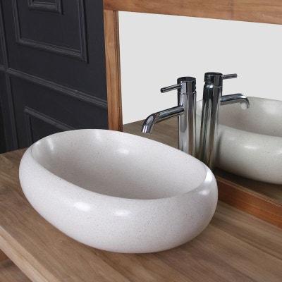Vasque ovale Terrazzo Resin blanc Vasque ovale Terrazzo Resin blanc BOIS  DESSUS BOIS DESSOUS 8cb0f1c8edb3