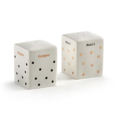 Peper- en zoutvaatje in porselein KUBLER Peper- en zoutvaatje in porselein KUBLER LA REDOUTE INTERIEURS