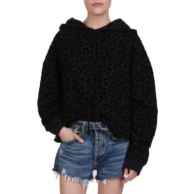 a652f709ba Sweat a capuche en coton a motif leopard ton sur ton en velours THE KOOPLES