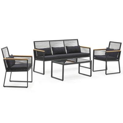 Salon de jardin en résine tressée avec table + 4 fauteuils encastrables Noir