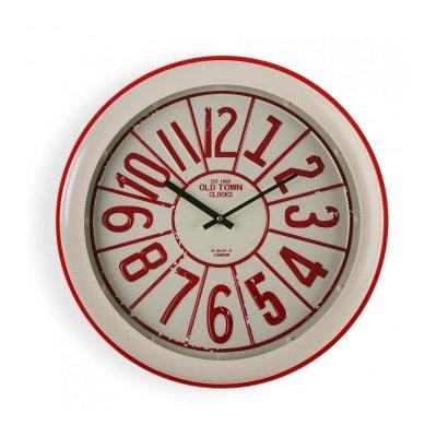 Horloge Murale Ronde Vintage en Métal Rouge VERSA 07e19e5906cb