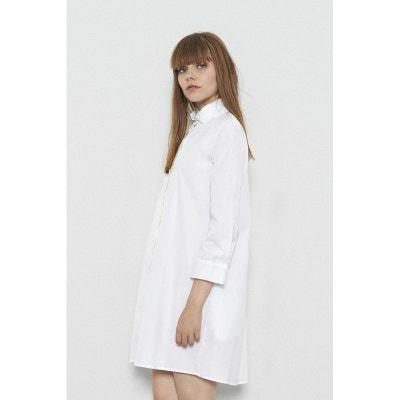 940663ffc5d Robe chemise avec détails broderie sur le col et le devant VENUS Blanc Robe  chemise avec. FETE IMPERIALE