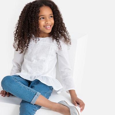 7ce2f2b13b072 Блузка с вышивкой и длинными рукавами, 3-12 лет Блузка с вышивкой и длинными