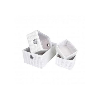 Set de 4 Paniers Tressés en Plastique et Polyester Set de 4 Paniers Tressés  en Plastique 93e6ba73f02