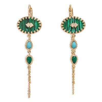 Vert Rouille Peacock 13-14 mm Naturel énorme Perle Baroque Boucles D/'oreilles 18K fascinant