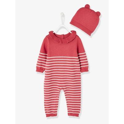 Ensemble bébé naissance combi volantée et bonnet tricot VERTBAUDET 99c2160fe4f