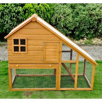 Cage à lapin en bois de grande taille zingue avec rampe 140x65x120cm -  HOMCOM Cage à d65dcd667710