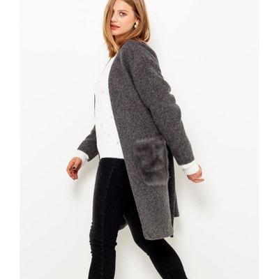 Manteau ceinturé à poches en fausse fourrure Manteau ceinturé à poches en  fausse fourrure CAMAIEU c6015806bab