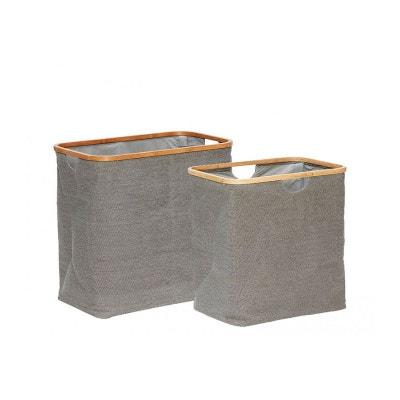 Set de 2 Paniers à Linge en Tissu Gris et Bambou WADIGA 9f6d45ac7bfb