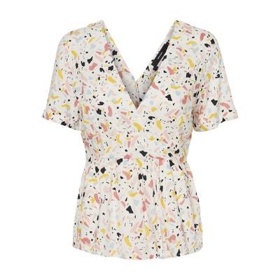 Mida Printed V-Neck Short-Sleeved Blouse Mida Printed V-Neck Short-Sleeved Blouse VERO MODA