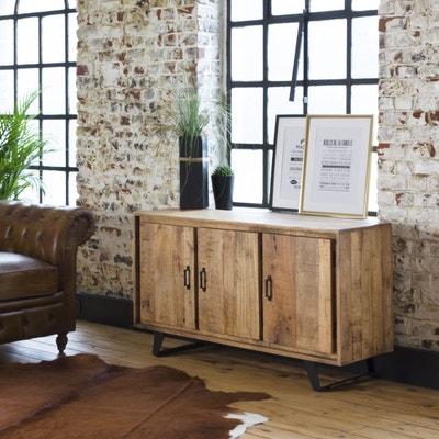 Buffet industriel bois et métal, 3 portes   B35 - En Soldes Buffet  industriel bois. MADE IN MEUBLES 92ee4de31dc5