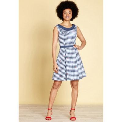 56ddd1382f69fc Short Checked Skater Dress Short Checked Skater Dress YUMI