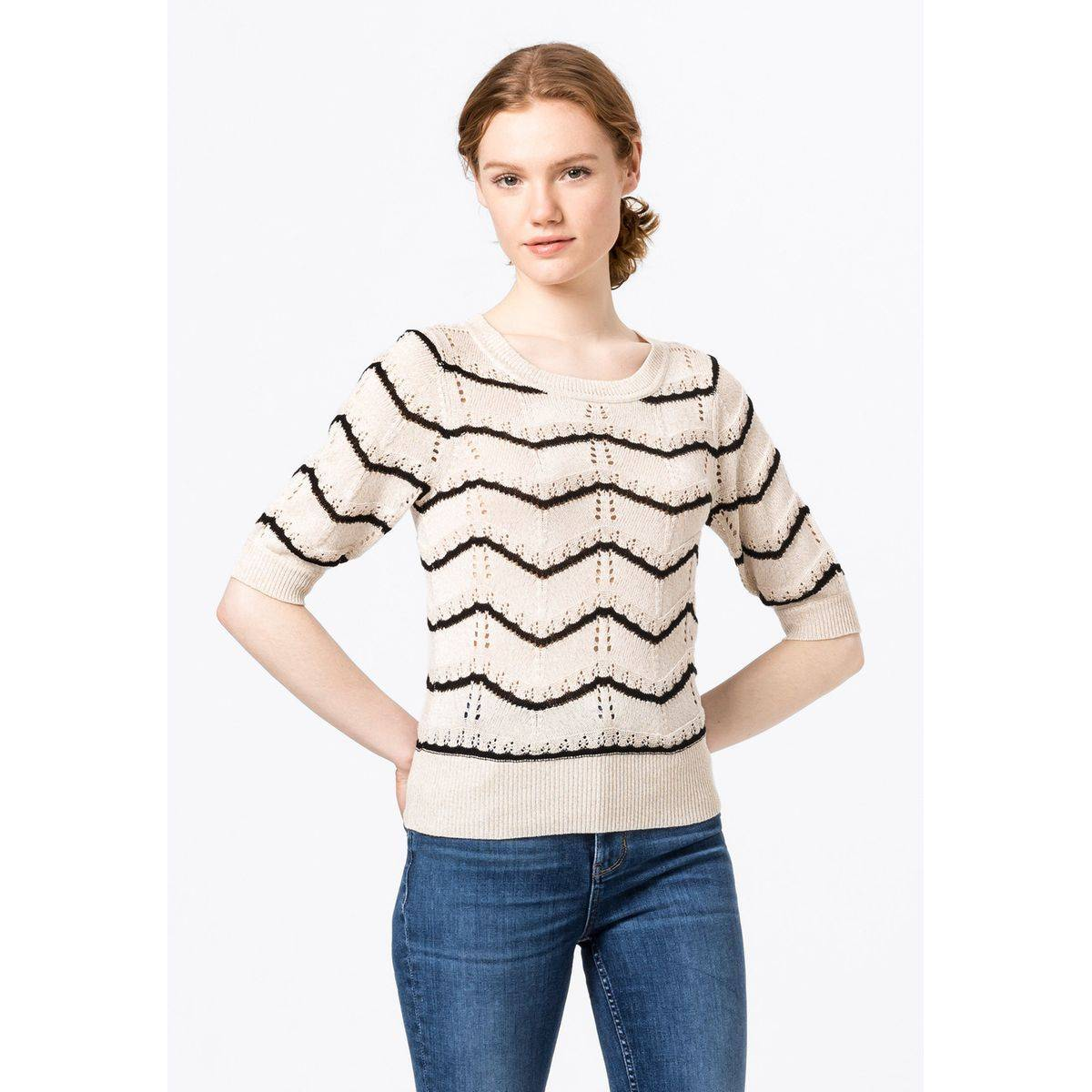 Pull-over en maille pointelle à rayures