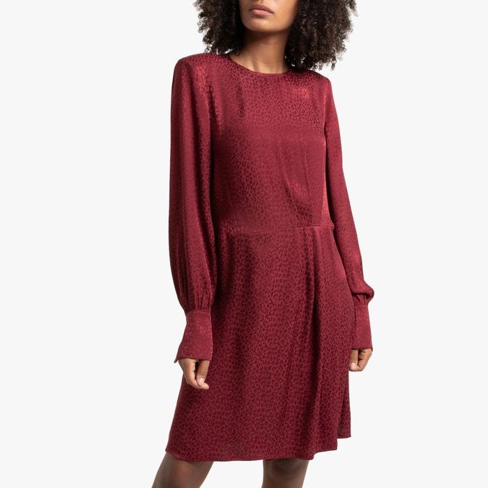 Kurzes Kleid Leicht Glanzend Lange Armel Bordeauxrot La Redoute Collections La Redoute