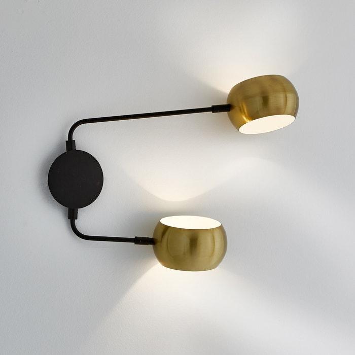 bb292633170 Lámpara de pared doble de metal negro y latón