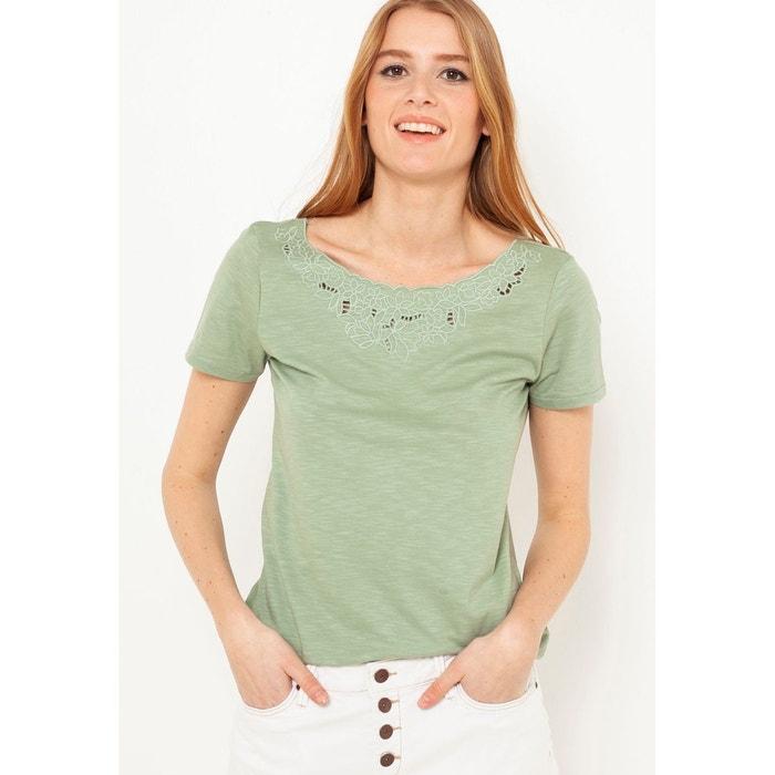 4652b29103c T-shirt brodé vert olive Camaieu