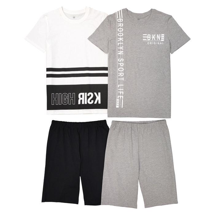 a9d151ad40852b Lot de 2 pyjashorts imprimés, 10 - 16 ans La Redoute Collections ecru +  gris chiné   La Redoute