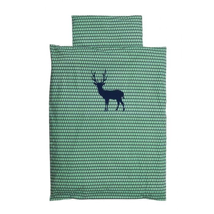 Parure de lit 120x150 blue deer vert Taftan | La Redoute