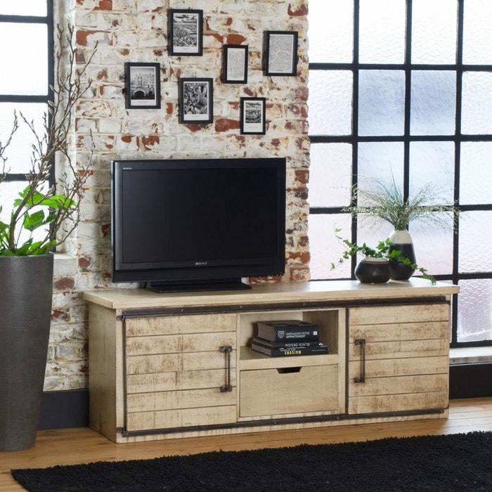 Meuble Tv Industriel Portes Coulissantes En Bois Effet Vintage If626a