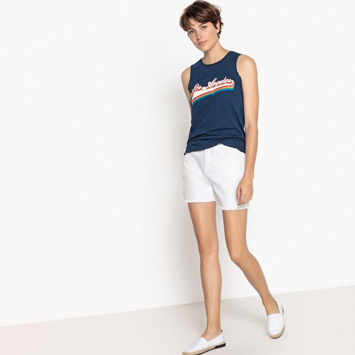 sin cuello con mangas Redoute redondo Collections Camiseta La estampada FwAx0