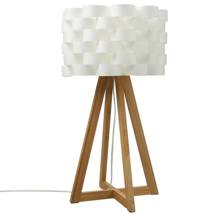 Lampe pied croisé bambou abat-jour fleur h55cm bambou et écru Pier ...