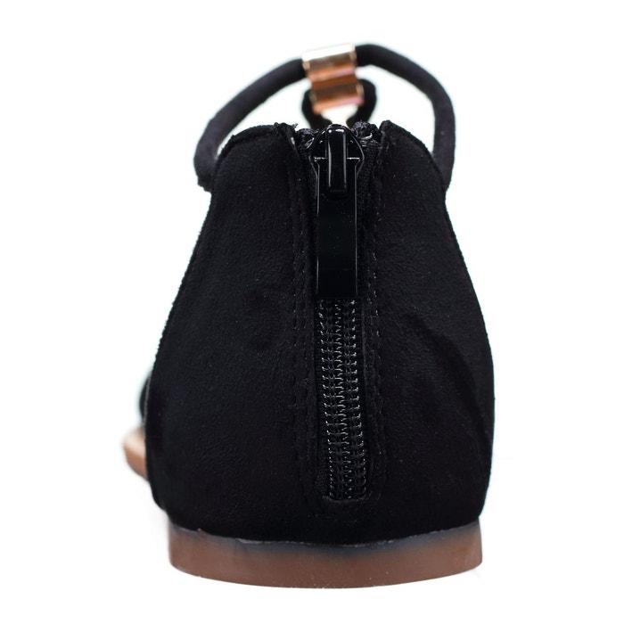 Sandales à détail doré noir Leader Mode