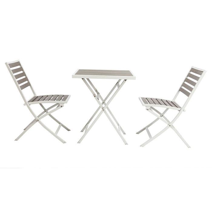 Salon de jardin pliable avec table 2 chaises bois MOJITO