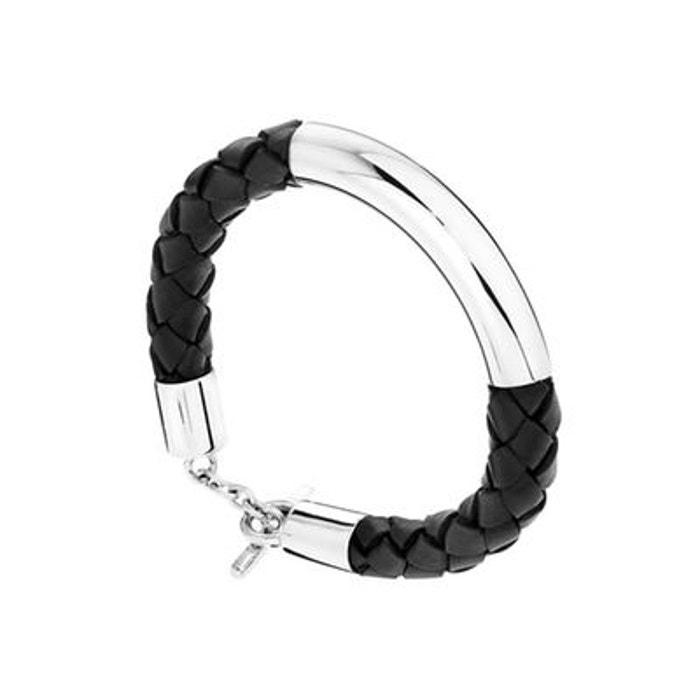 Bracelet lui de clio en cuir et argent 925, 24.9g noir Clio Blue | La Redoute