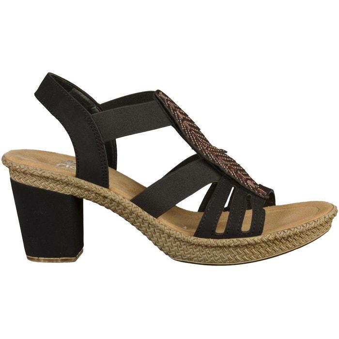 Sandales noir Rieker Vente En Ligne Pas Cher E6yGtflHo