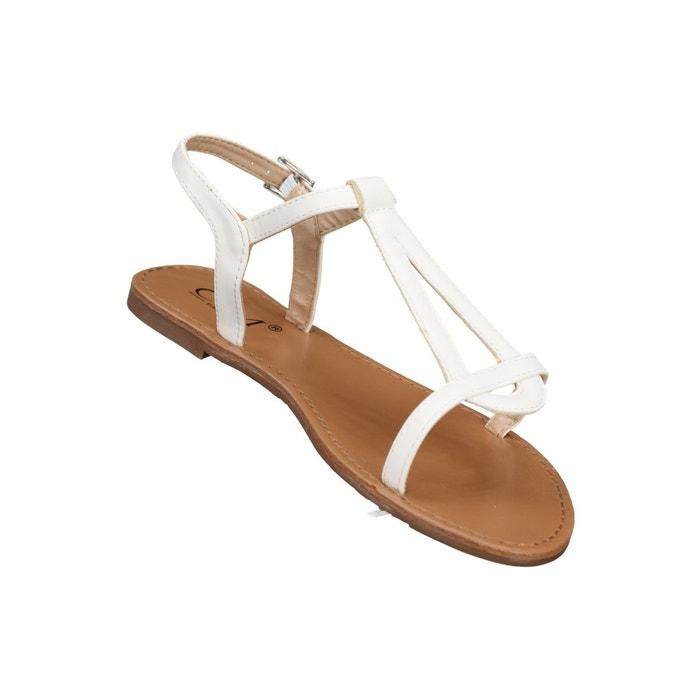 Sandales à lanières blanc Leader Mode ...