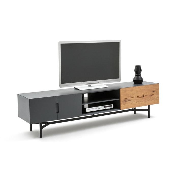 Lora contemporary wood & metal tv unit , oak/grey, La ...