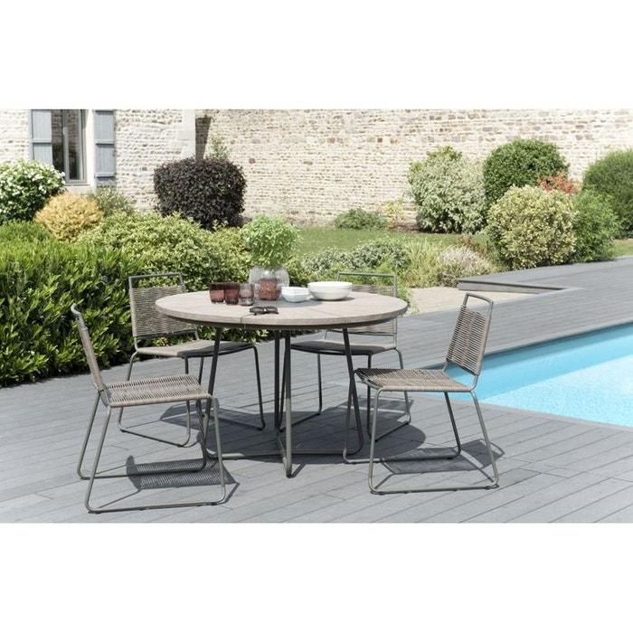 Salon de jardin teck table d120 4 chaises cordage - Table de salon la redoute ...