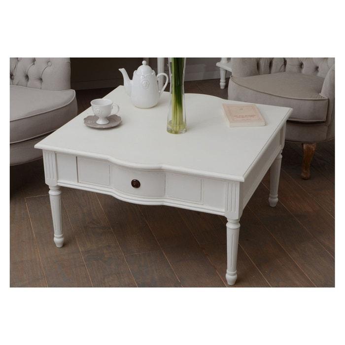 Table Basse Carree 1 Tiroir En Bois Agatha Blanc Hellin Depuis