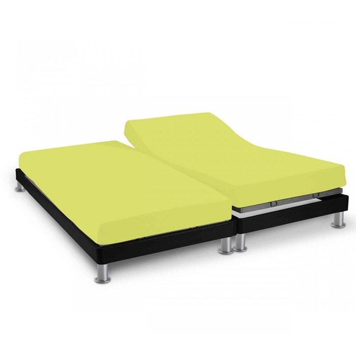 drap housse uni 160 x 200 cm pour sommier articul anis vert terre de nuit la redoute. Black Bedroom Furniture Sets. Home Design Ideas