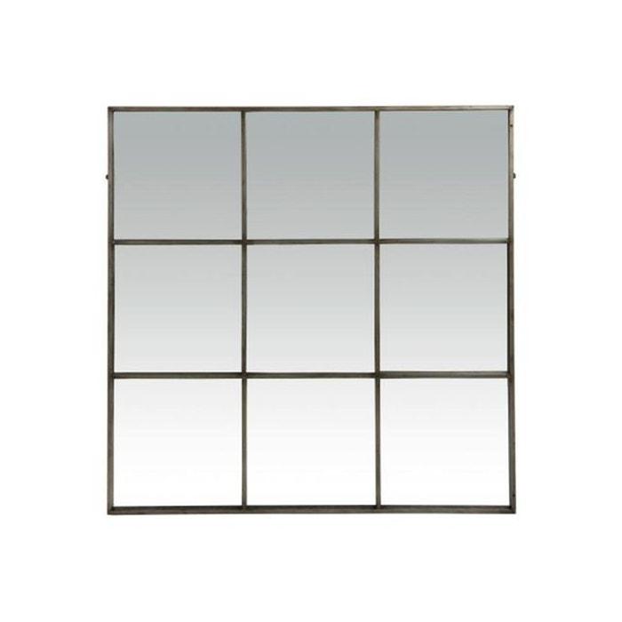 Miroir style industriel 9 parties en m tal linnor noir for Miroir noir industriel