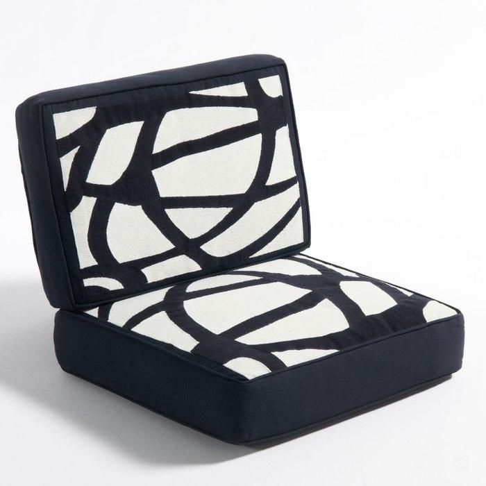 coussin en toile de coton pour fauteuil dilma ecru noir. Black Bedroom Furniture Sets. Home Design Ideas