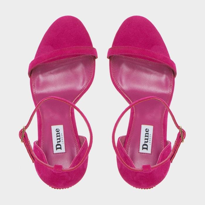 Sandales à brides avec motif lèvres orné de strass - mwah rose daim Dune London