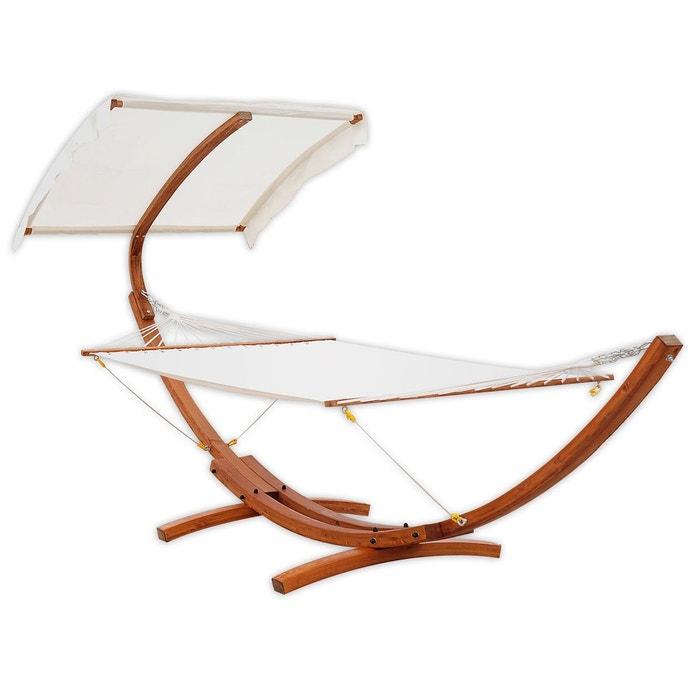 hamac avec support et pare soleil bois cr me blanc homcom. Black Bedroom Furniture Sets. Home Design Ideas