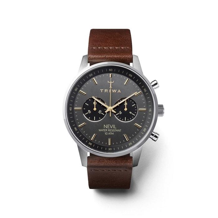 Montre unisexe chrono bracelet cuir tannage végétal boitier 42mm nevil marron Triwa | La Redoute Acheter Pas Cher Geniue Stockiste nQLsn