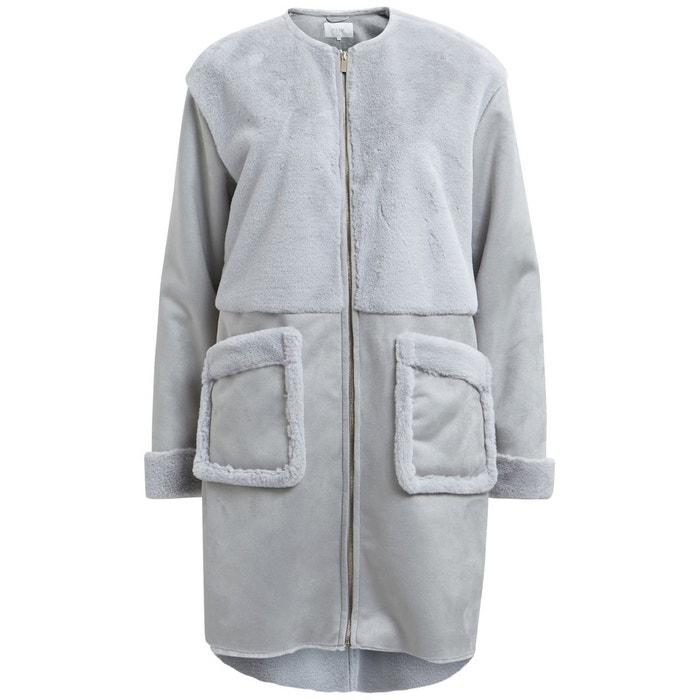Manteau femme mi-long bi-matière col rond VILA
