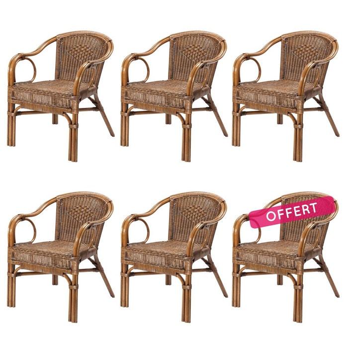 Fauteuil Osier Design: Lot De 6 Fauteuils Palma En Osier Marron Rotin Design