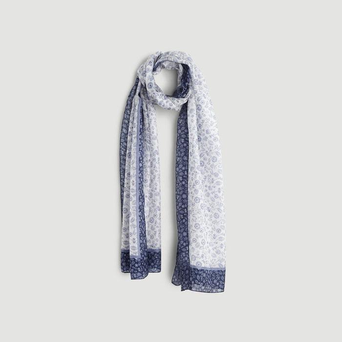b6a03d44cd5 Etole en soie imprimée petites fleurs bleu Monoprix