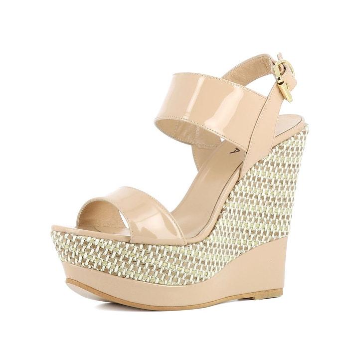 Sandales au talon compensé nude Evita